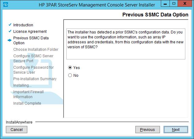 SSMC Install Previous SSMC Data Option