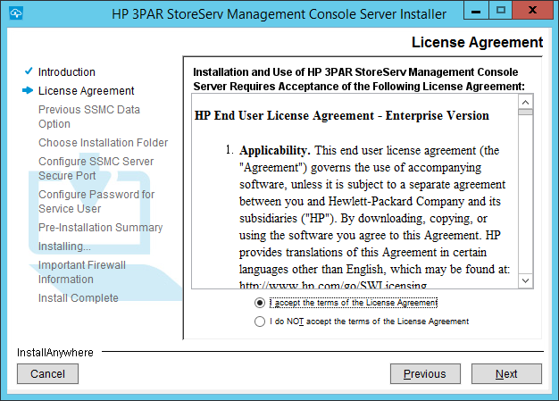 SSMC Install License Agreement