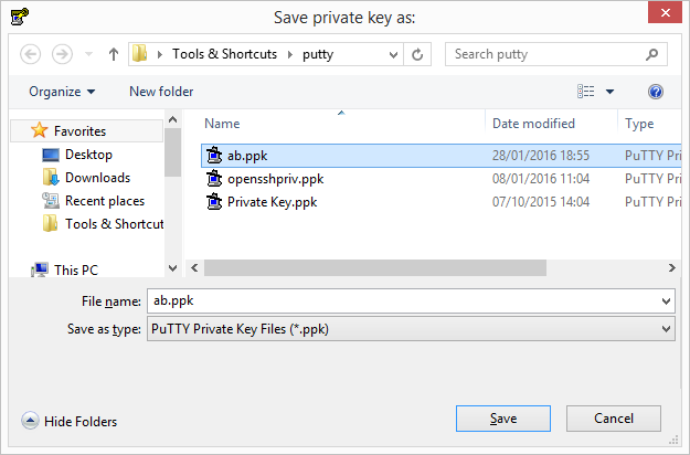 Save private key
