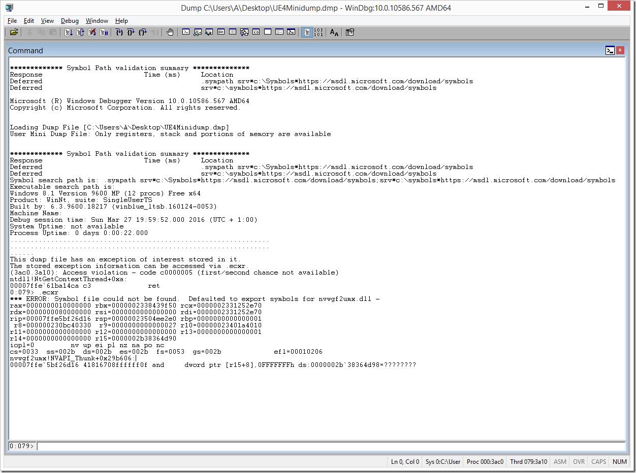WinDbg Crash Dump Executed .ecxr Command