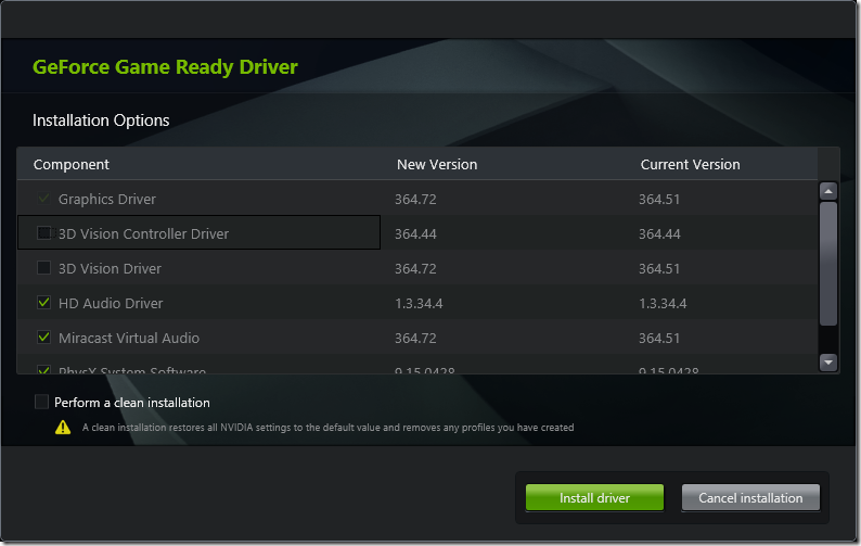 NVIDIA Drive Install - Remove 3D Drivers