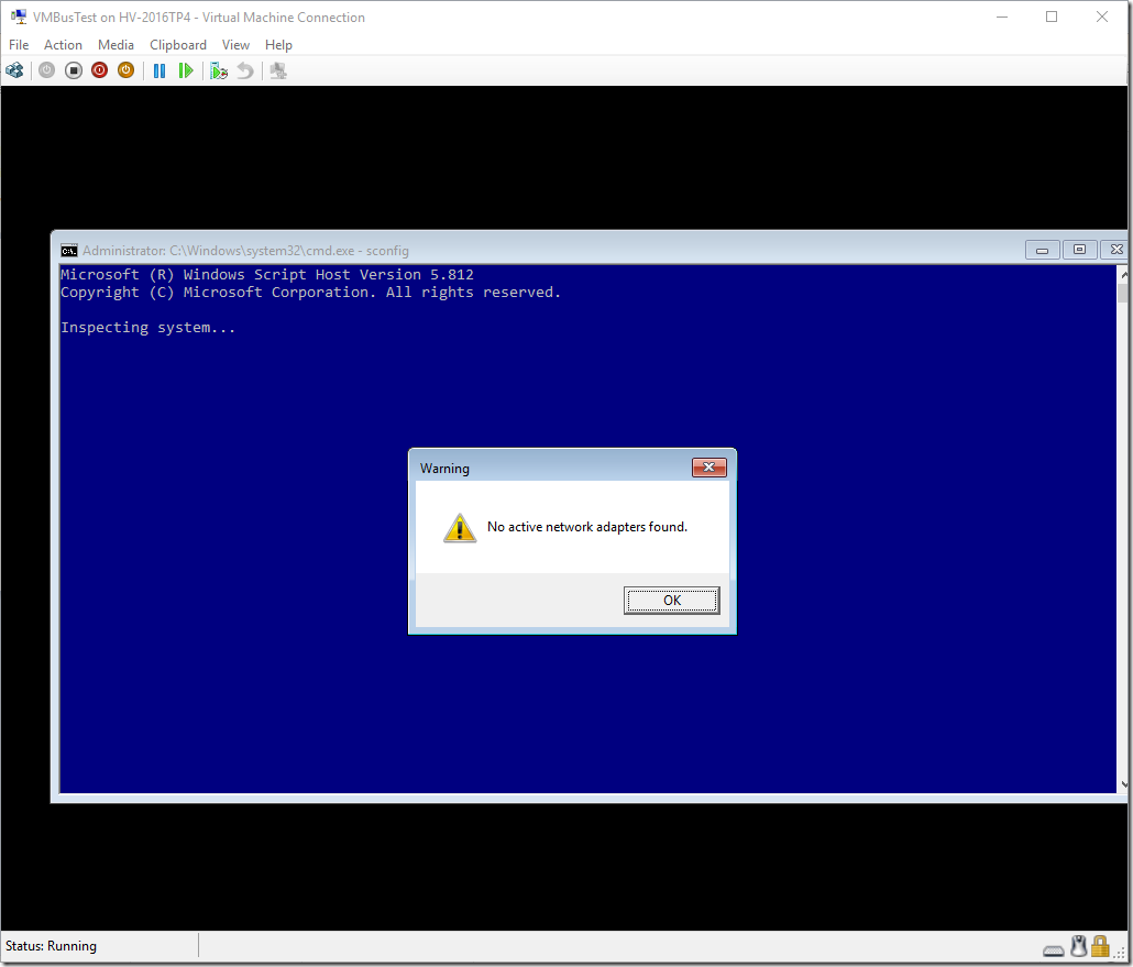 Virtual Machine No Active Network Adapters Found