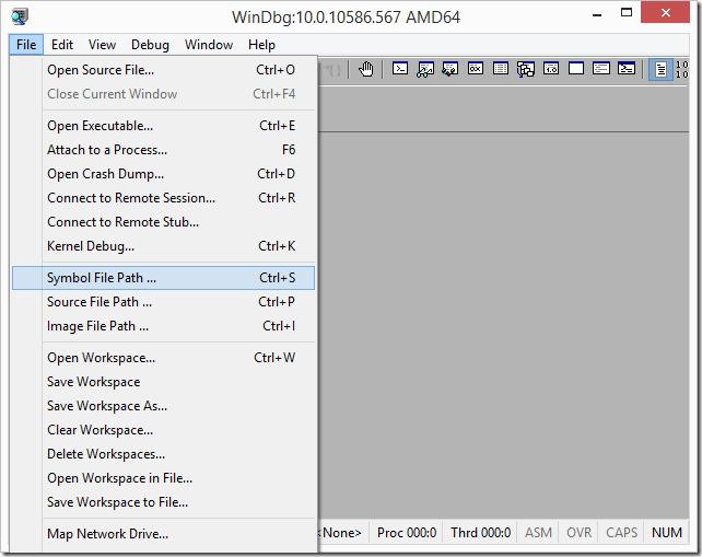 WinDbg Symbol File Path Menu Option
