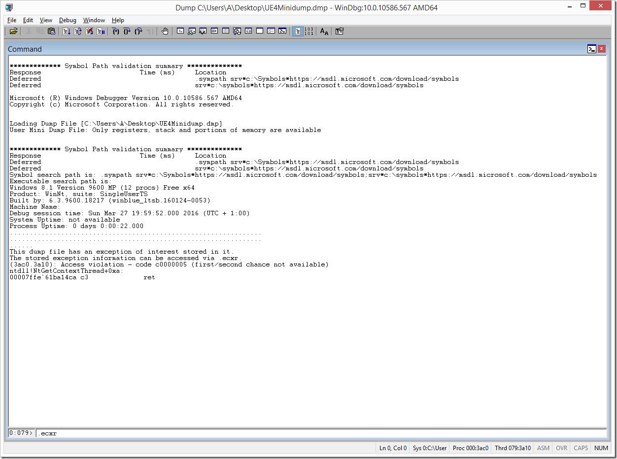WinDbg Crash Dump Recommend .ecxr Command