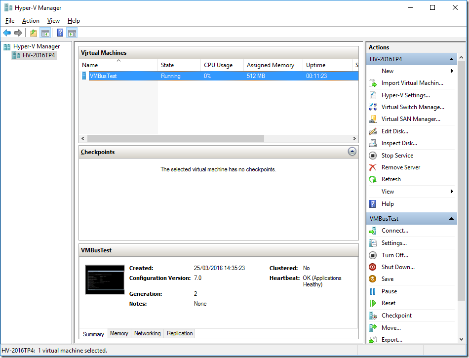 Hyper-V Manager Console