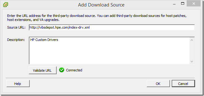 Add Download Source Validate URL Connected
