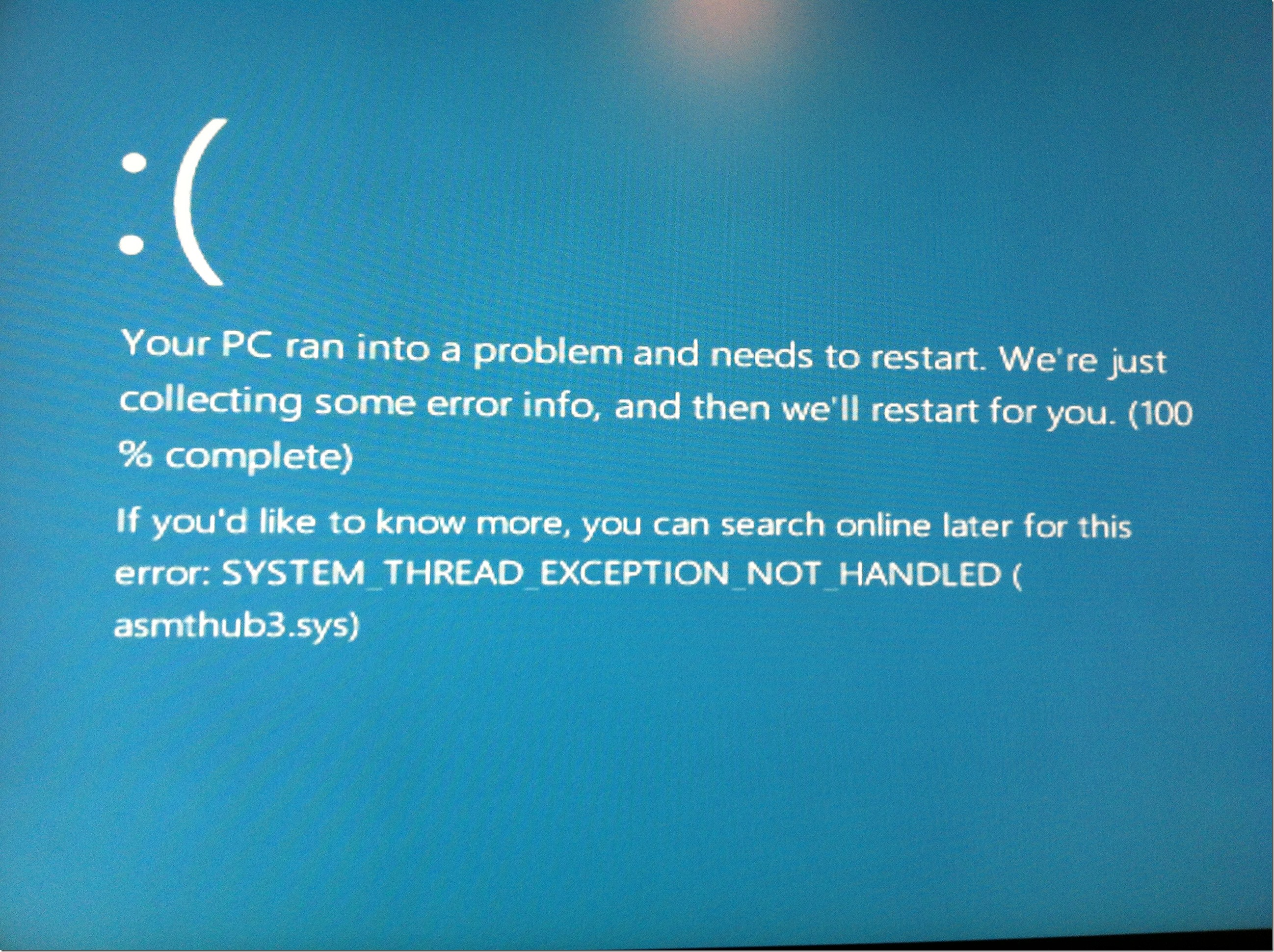 Blue Screen Crash - asmthub3.sys