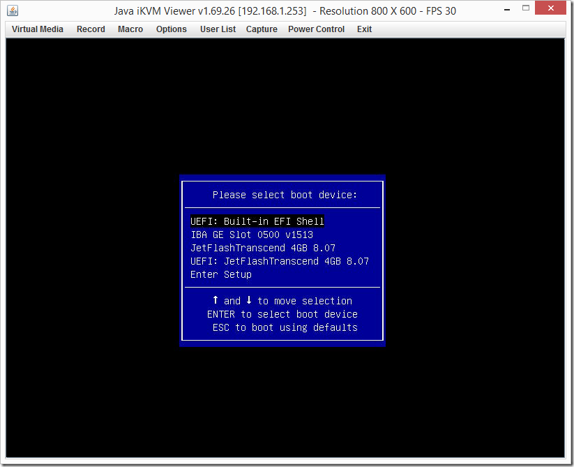 IPMI Screen Select Boot Device