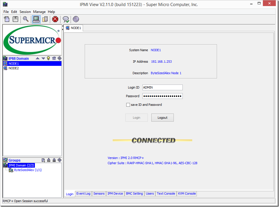 Supermicro IPMIView System Connected