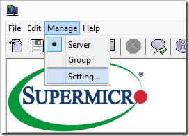 Supermicro IPMIView Manage Settings