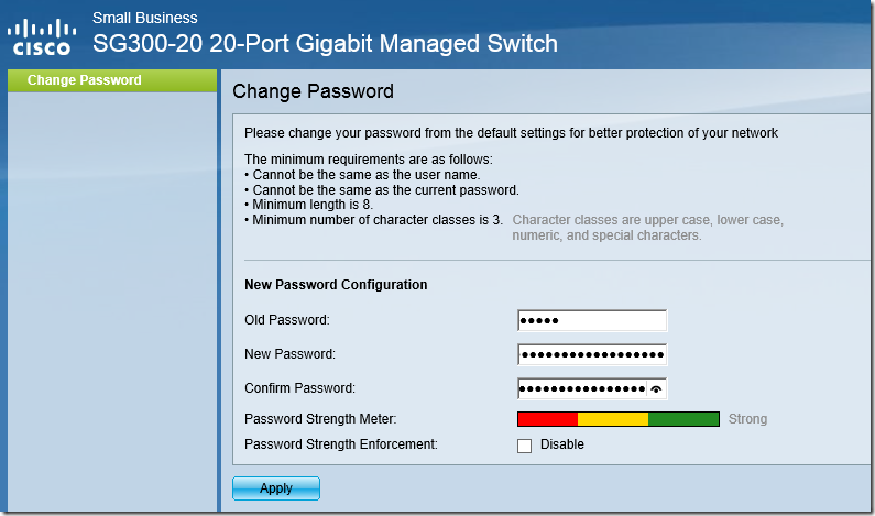 HTTP Switch Configuration - Change Password