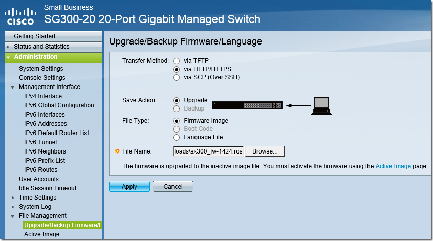 HTTP Switch Configuration - Upgrade Firmware