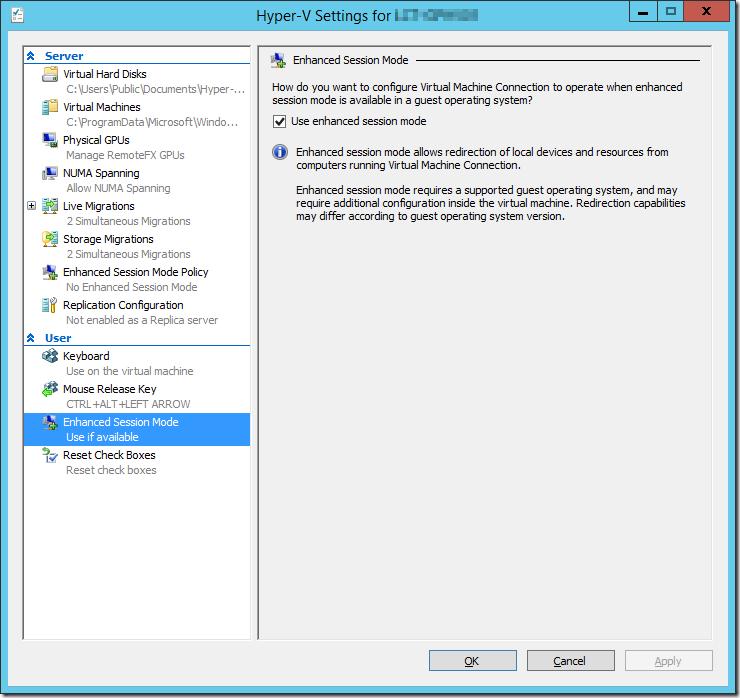Hyper-V Settings User Enhanced Session Mode