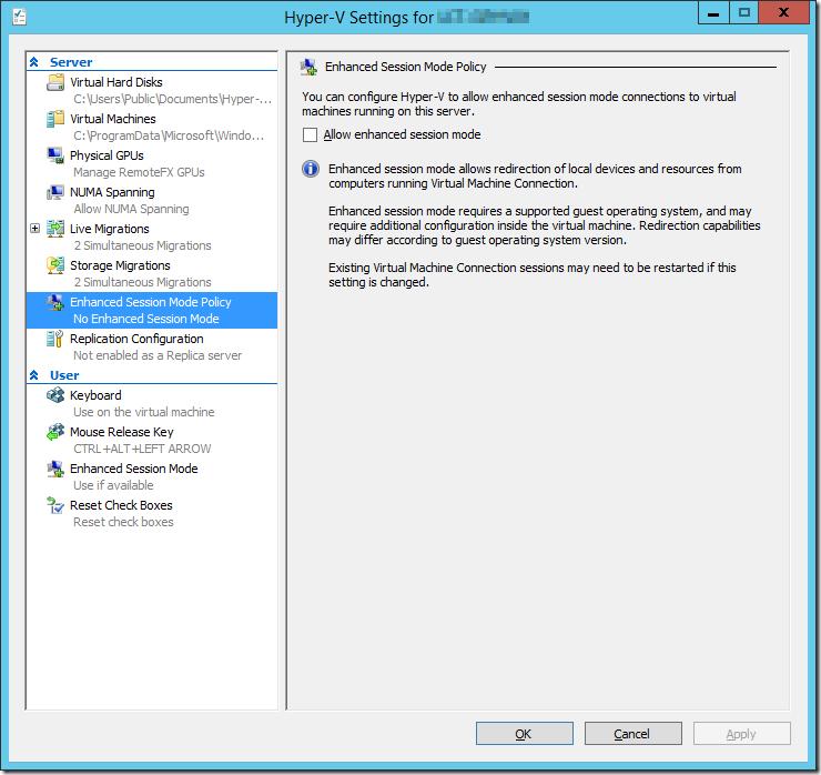 Hyper-V Settings Server Enhanced Session Mode