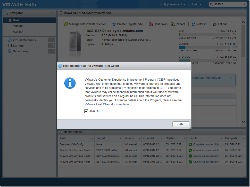 VMware ESXi Embedded Host Client Web Interface CEIP