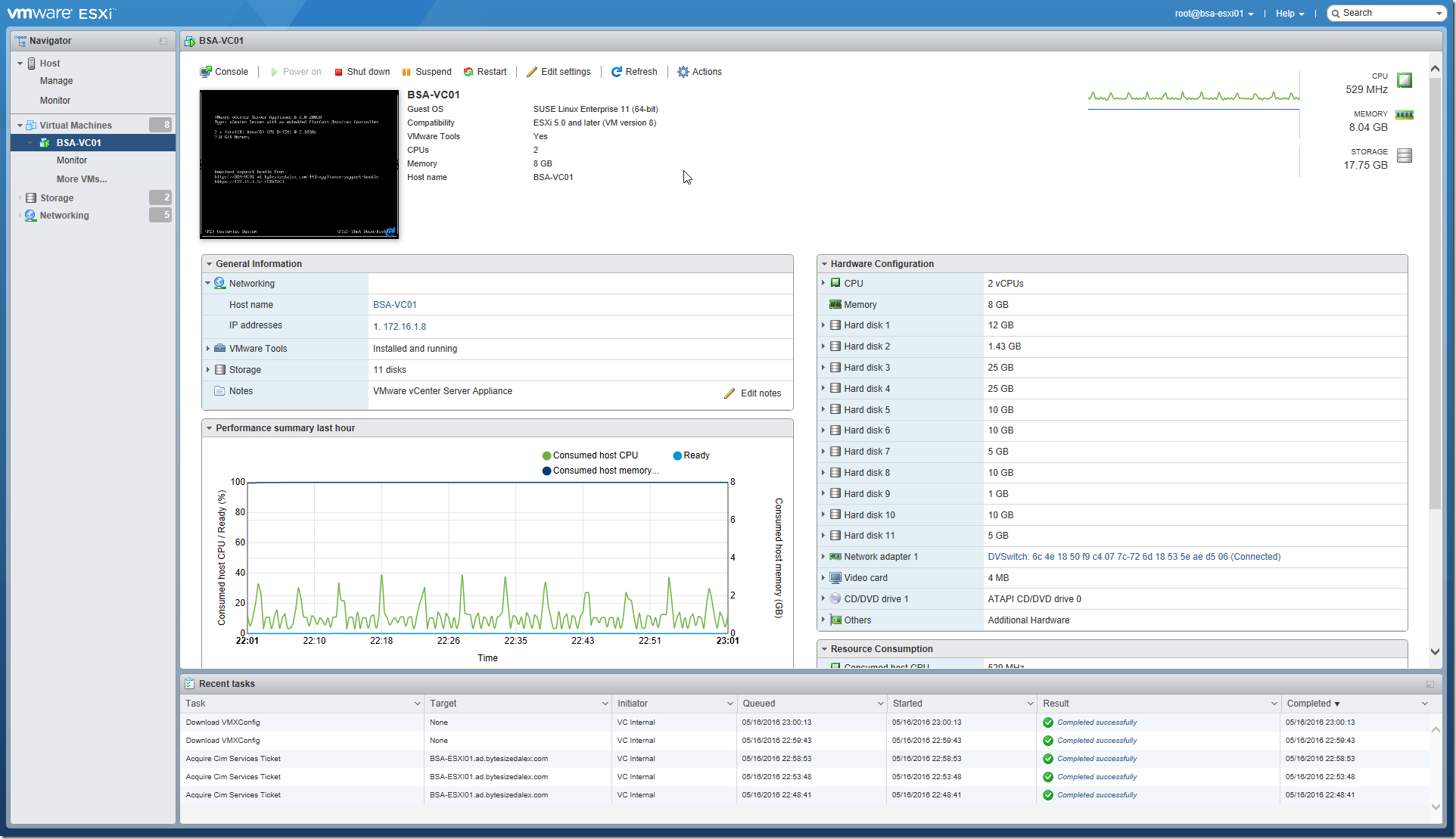 VMware ESXi Embedded Host Client Web Interface Virtual Machine View