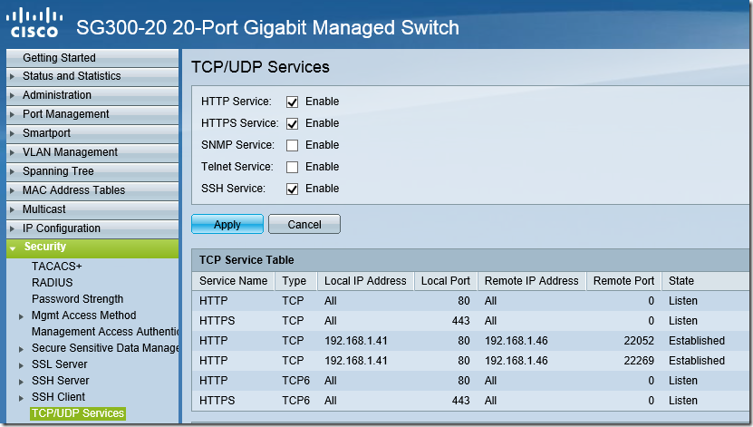 HTTP Switch Configuration - Enable SSH