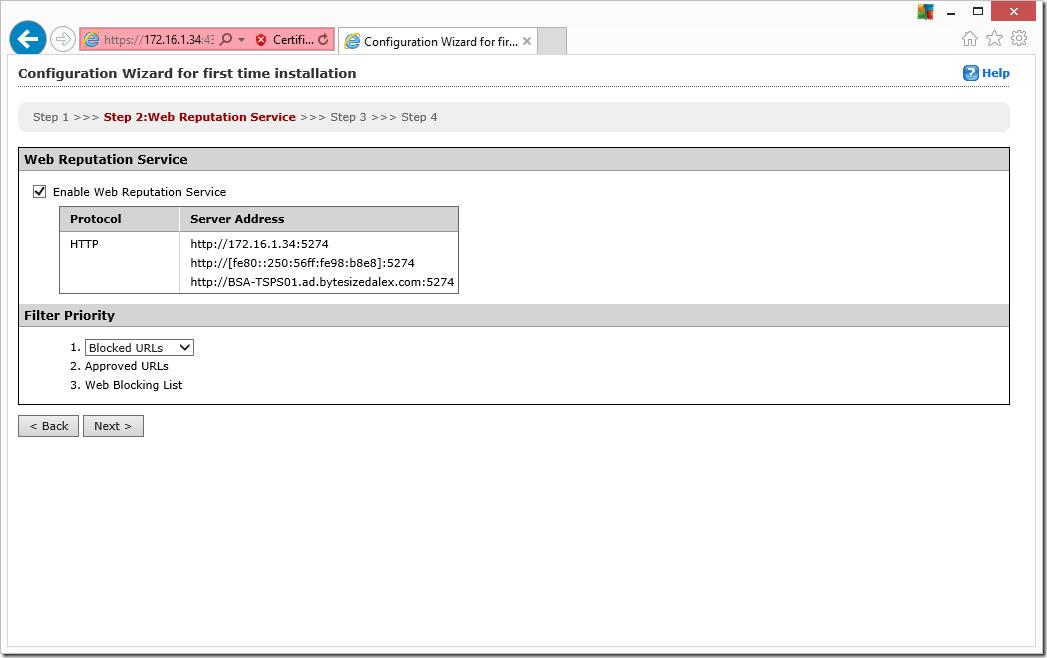 Web Interface Configuration Wizard