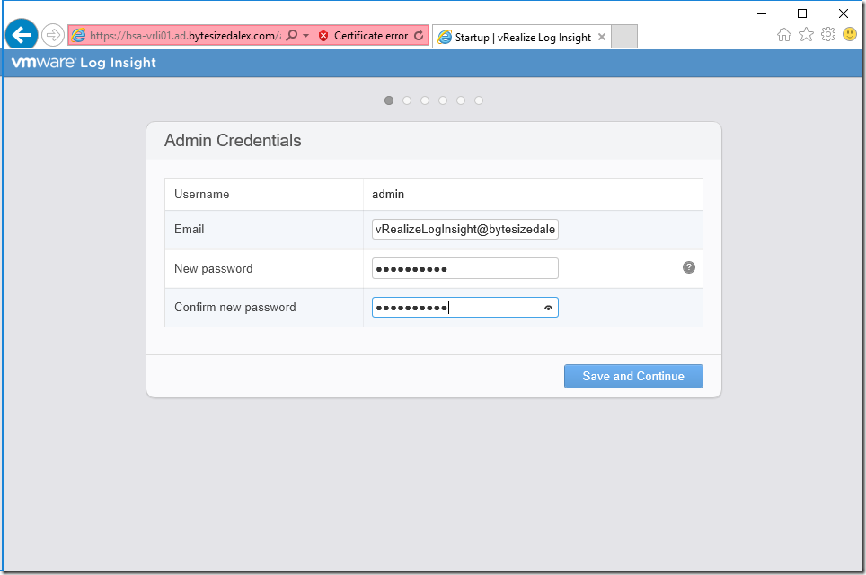 vRealize Log Insight Configuration Wizard
