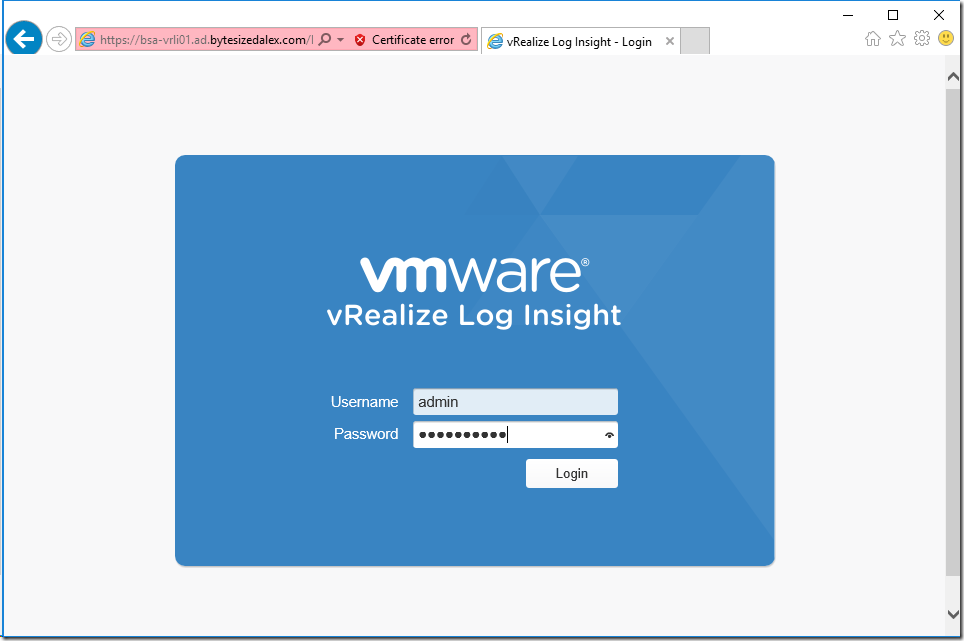 vRealize Log Insight Device Configuration
