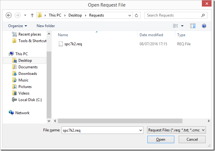 Open CSR request file