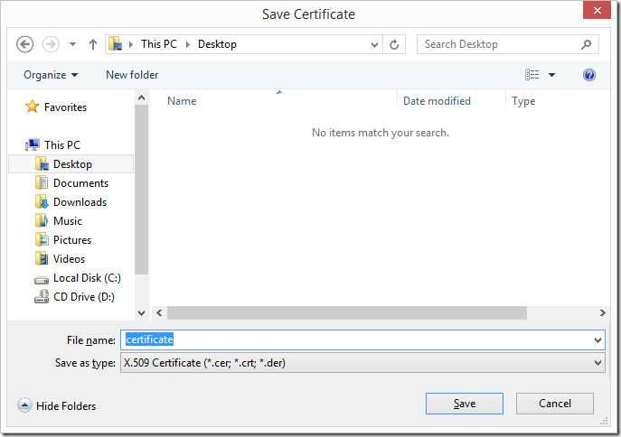 Save Certificate