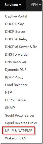 Services UPnP & NAT-PMP