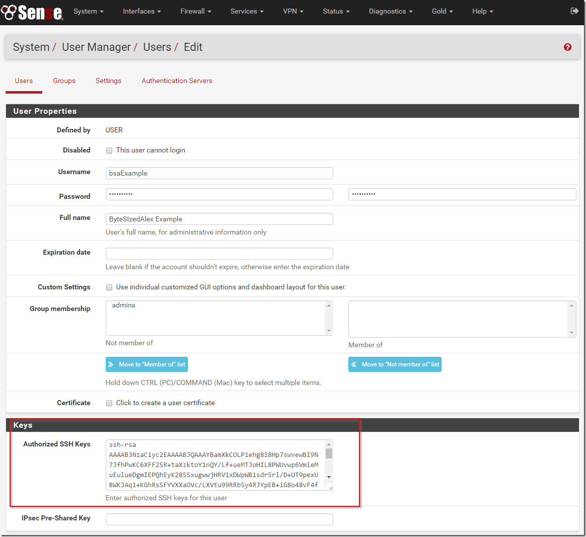 pfSense User Account Authorised SSH Keys