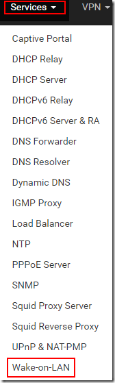 pfSense Services Menu - Wake On LAN