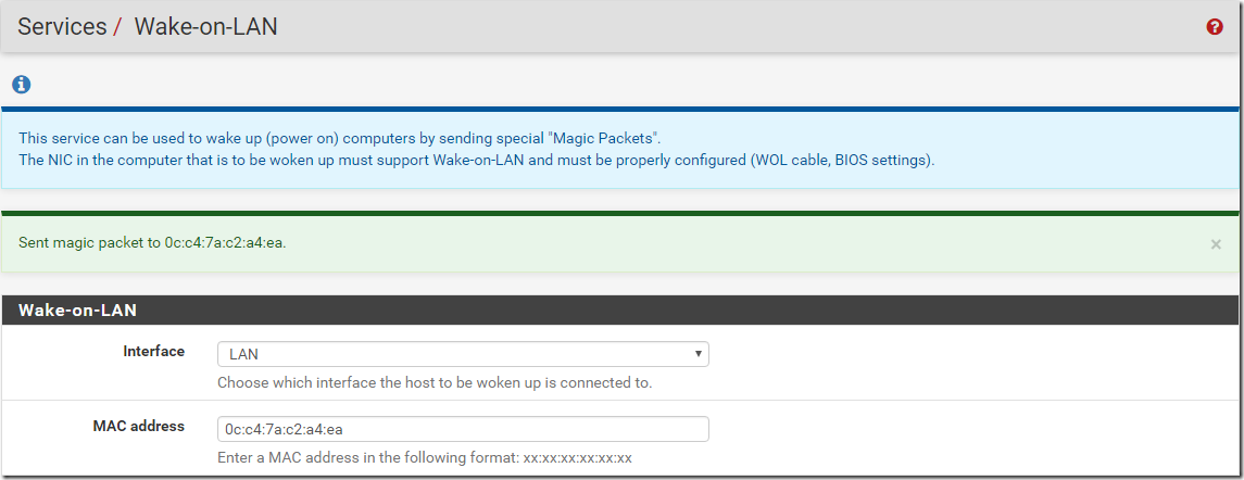pfSense Wake On LAN Magic Packet Sent