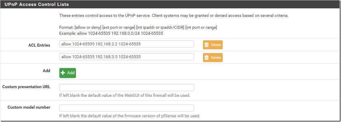 UPnP Access Control Lists