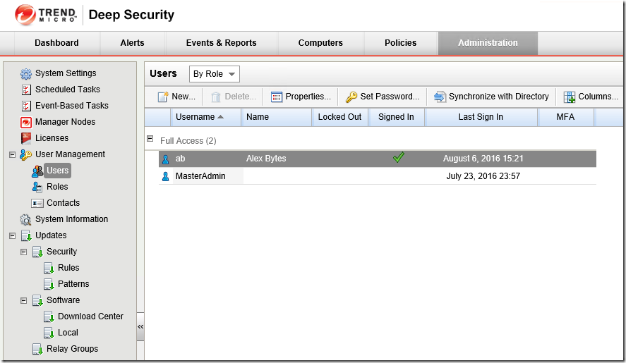 Deep Security User Management Users