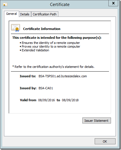 Valid SSL TLS Certificate