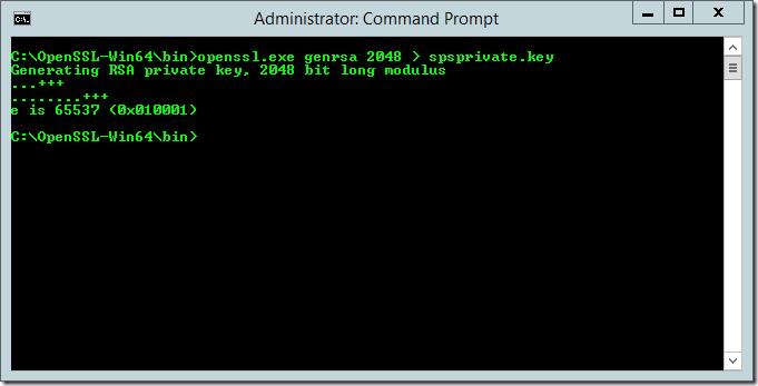 openssl.exe genrsa 2048 > spsprivate.key