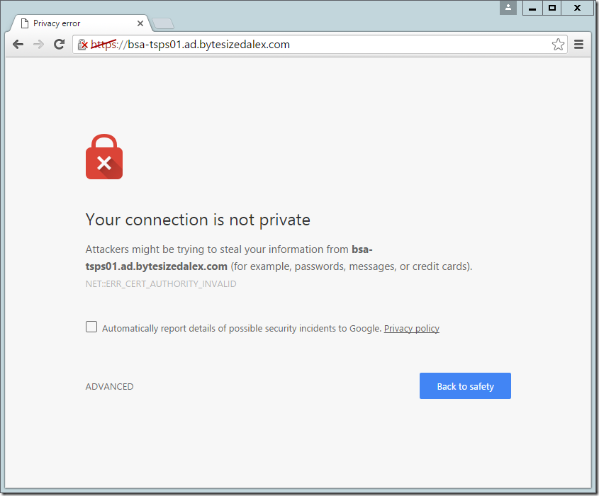 Web Interface with SSL TLS Errors
