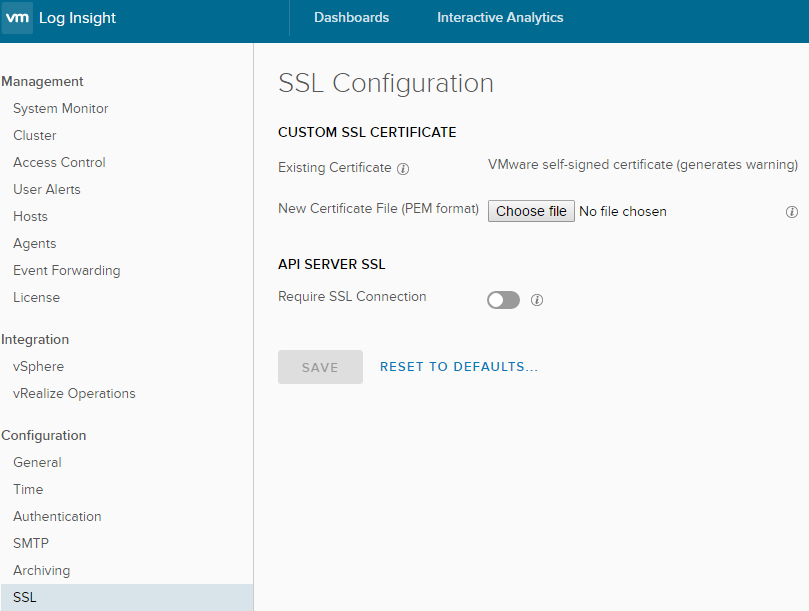 VMware Log Insight Custom SSL Option
