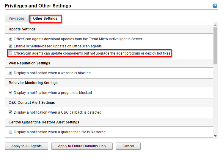 OfficeScan Agent Management Privileges and Other Settings Options