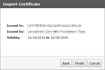 Trend Micro Smart Protection Server - Import PEM File Confirm Details