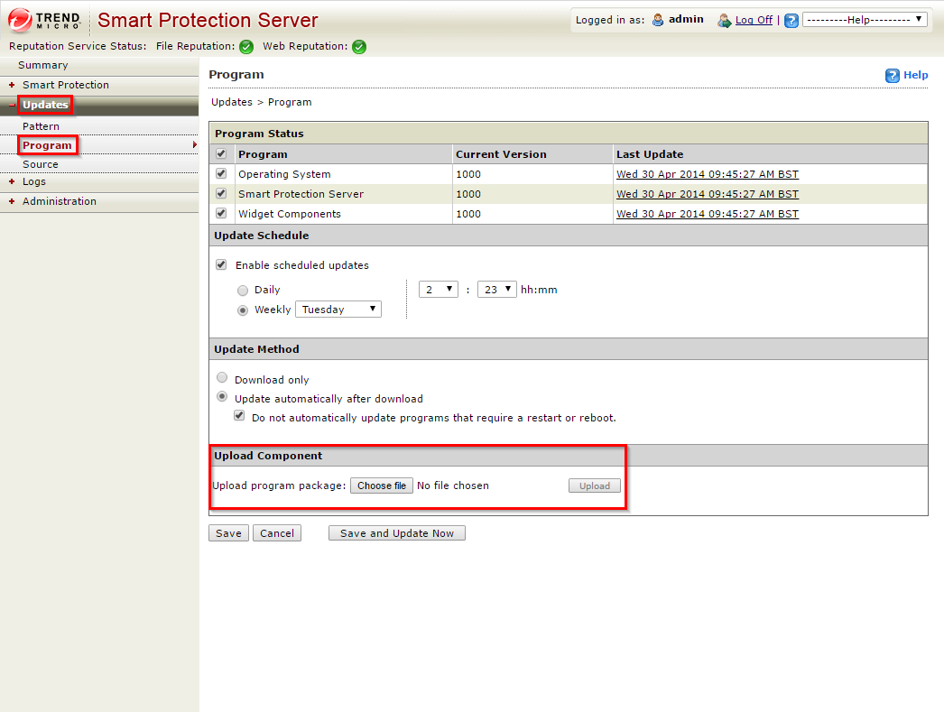 Trend Micro Smart Protection Server - Update Upload Component