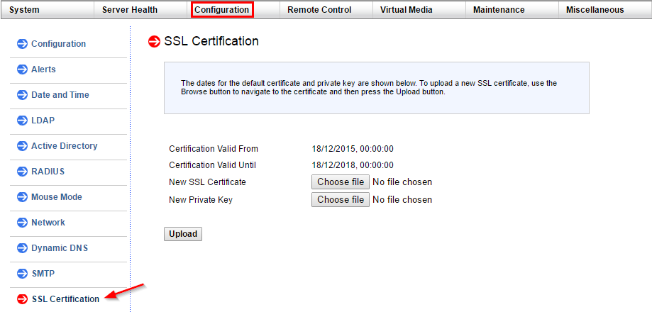 Configuration SSL Certification Menu