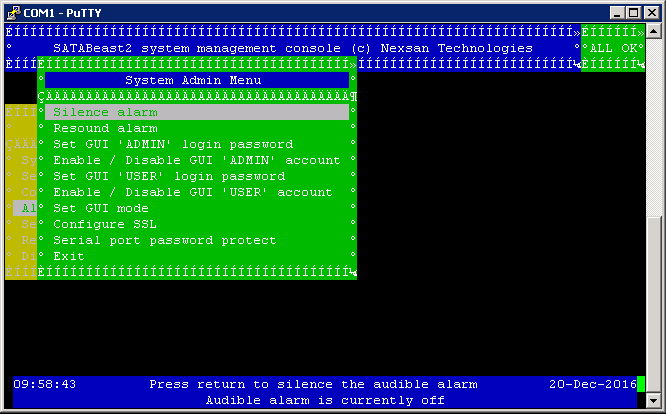 Nexsan Serial Interface Administrator Password Reset - System Admin Menu