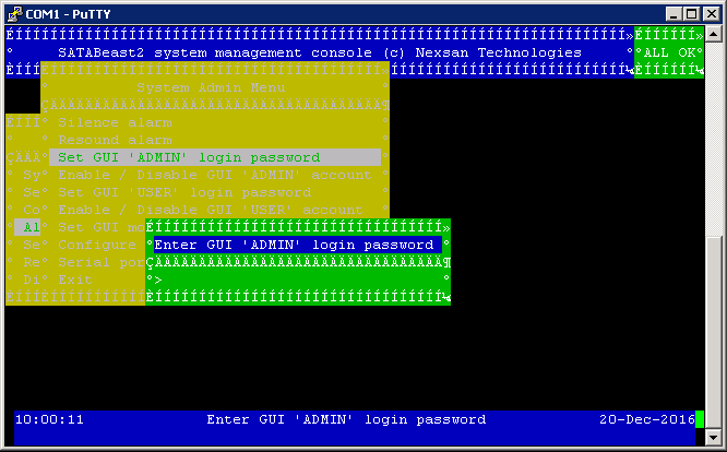 Nexsan Serial Interface Administrator Password Reset - Enter GUI Admin Password