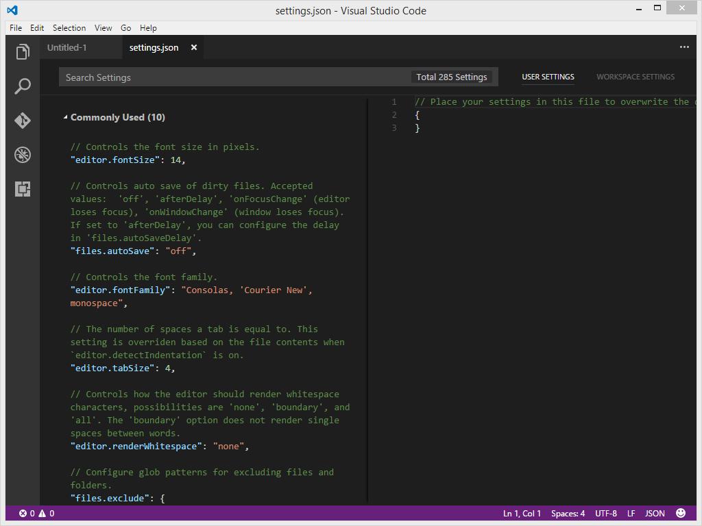 Visual Studio Code Customise Settings JSON