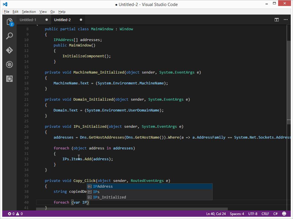 Visual Studio Code Programming Example C#