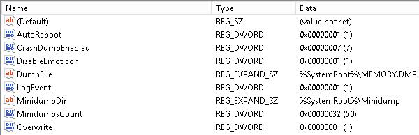 Healthy Host Crash Dump Registry Settings