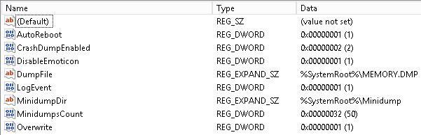 Problem Host Crash Dump Registry Settings