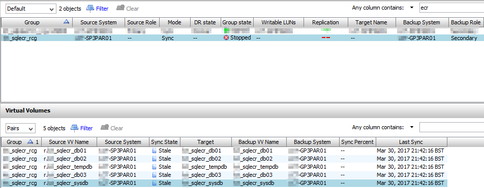 Remote Copy Stopped Stale Sync State