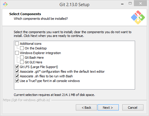 Git Setup - Select Components