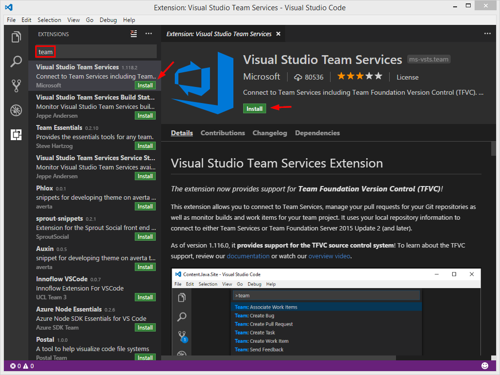 VSC Extensions - Visual Studio Team Services Extension