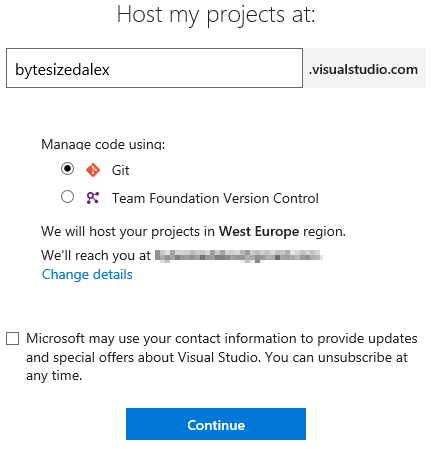 VSTS Account Creation